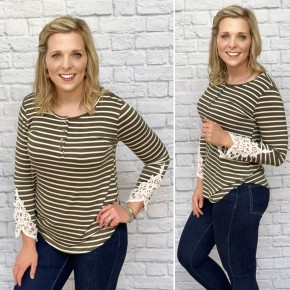 The Montgomery Stripe & Lace Top