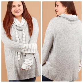 Cozy Cowl Neck Sweater- CURVY