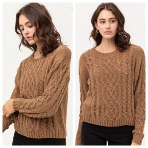 Mocha Cable Knit Sweater