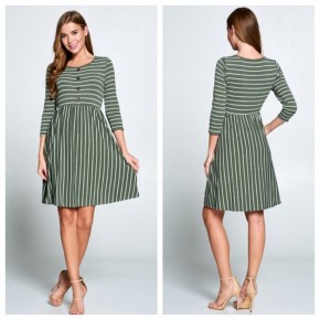 Holiday Button Stripe Dress- Size SMALL