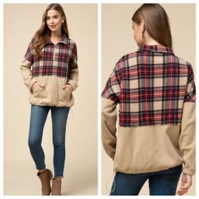 Plaid Half-Zip Pullover