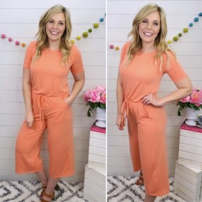 Just a Crush Jumpsuit - Coral