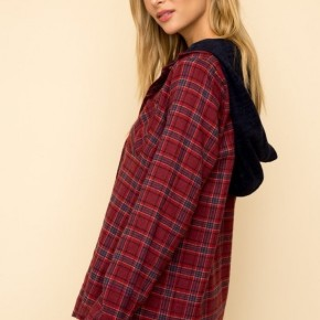 Flannel Jacket with Hood by Hem + Thread