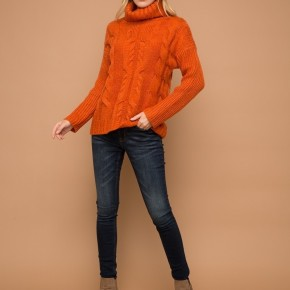 Rust Cable Turtle Neck Sweater *Final Sale*