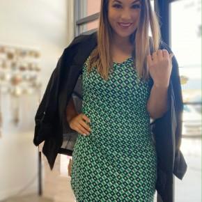 Printed Bodycon Green T-Shirt Dress