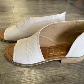 The Adele in Snake White Flat Shoe