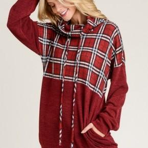 Plaid Contrast Lightweight Sweater