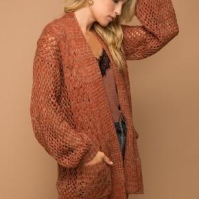 Rust Open-Stitch Cardigan by Hem + Thread