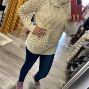Cowl Neck Waffle Sweater