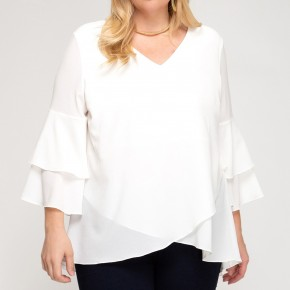 Off White Bell Sleeve Top by She + Sky