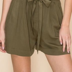 Olive Highwaist Paperbag Shorts
