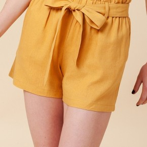Simple Paperbag Highwaist Shorts in Mustard