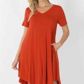 Curvy T-Shirt Dress in Copper