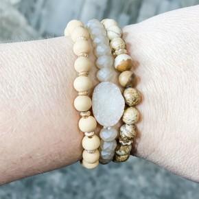 Wood Druzy Bracelet