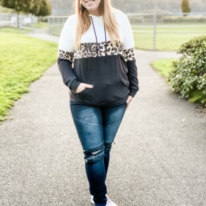 Animal Print Color Block Hoodie