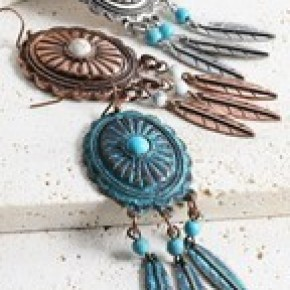 Metal Feathers and Natural Stone Ear