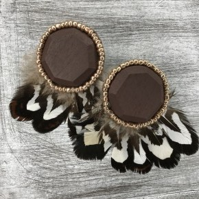 Wood Feather Fashion Earrings