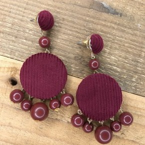 Corduroy Wood Bead Earrings