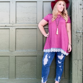 Scoop Neckline Short Sleeve Tunic Top