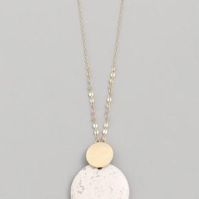 Howlite Stone Disc Pendant Necklace