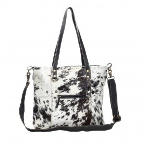 Black and White Shade Hairon Tote Bag