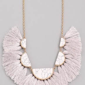 Aztec Stone and Tassel Necklace