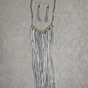 Leather Fringe Earring and Necklace Combo
