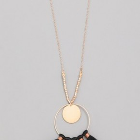 Circle Tassel Fan Pendant Necklace