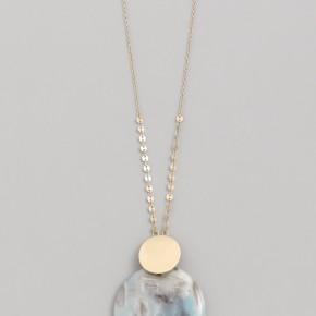 Amozonite Stone Disc Pendant Necklace