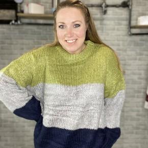 Color Block Bubble Sleeve Sweater