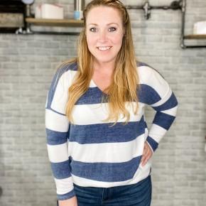 V-Neck Stripe Sweater