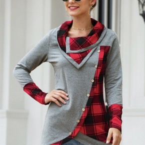 Cowl Neck Pullover with Plaid details