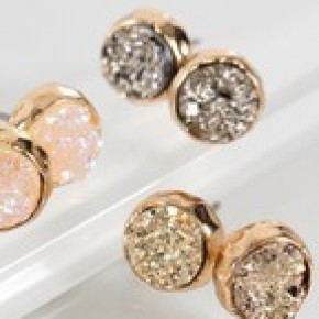 Dainty Round Druzy Post Earrings