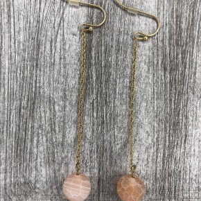 Stone Drop Ball Earrings