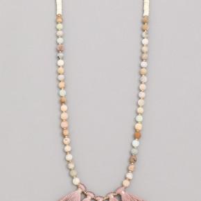 Multi Tassel Beaded Charm Necklace