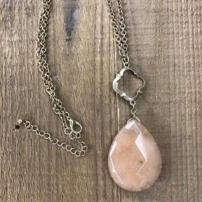 Opulent Teardrop Stone Pendant Necklace