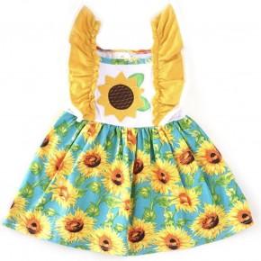 27ea4df3b69b Sunflower Applique Flutter Sleeve Dress
