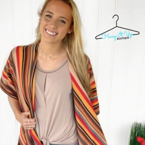 Step Out of Line Kimono- Mustard/ Red