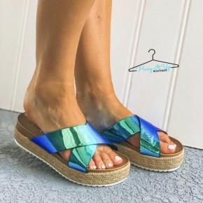 Mermaid Espadrille Platform Sandal - Blue