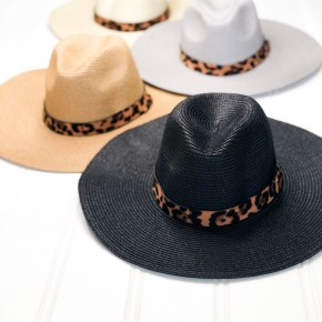 Running Late Leopard Hat- Beige