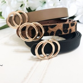 Seeing Double Belt Set- Black, Leopard, Taupe
