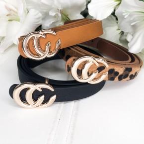 Sure to Make It Belt Set-Chestnut, Leopard, Black