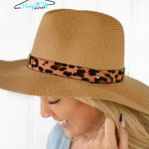 Running Late Leopard Hat- Tan