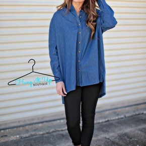 Chambray Denim Button Down Tunic