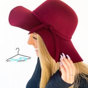Feeling Chic Floppy Hat- Burgundy