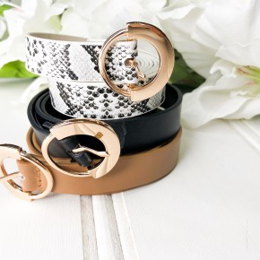 Bright Outlook Belt Set- Black, Taupe, Snake