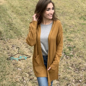 Cozy Thoughts Cardigan- Mustard