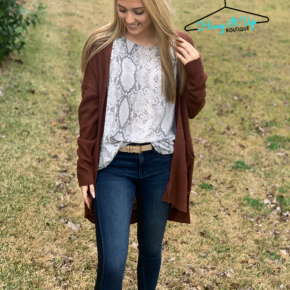 Cozy Thoughts Cardigan- Rust
