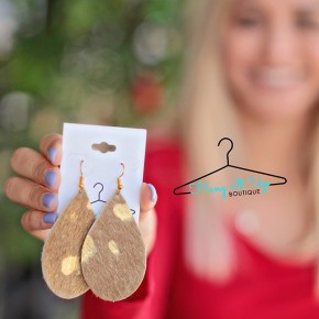 Lily Earrings: Tan and Gold