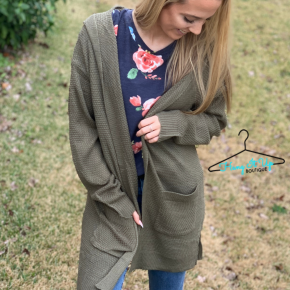 Cozy Thoughts Cardigan-Olive